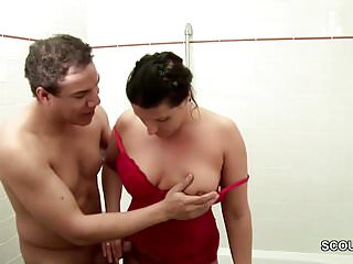 German Step-Son Caught Mom in Bathroom and Seduce to Fuck