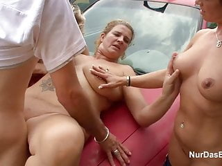 3 Hot MILFs get fuck outdoor by 18yr old Boy