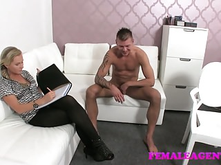 Female Agent Shy stud needs help from agent