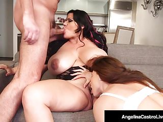 Hot BBW Angelina Castro Shares BF's Cock With Roberta Gemma!