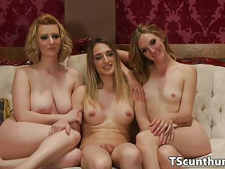 Dominant TS plowing lingeried pussy in trio