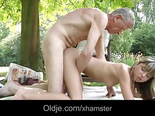 Oldman fucks a young and nasty girl