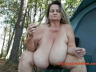 Big saggy tits woman with a banana