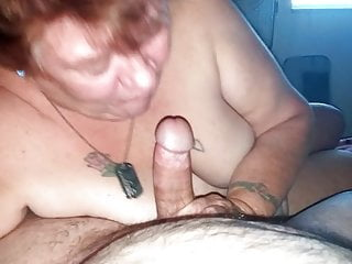 Mature Grandma sucking younger