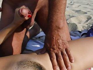 Old dirty turk cums on my wife on beach