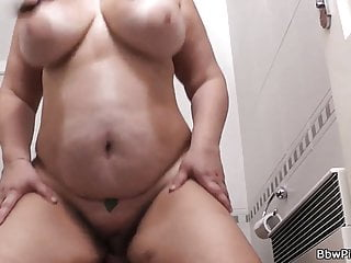 Busty bitch rides stranger meat in the restroom