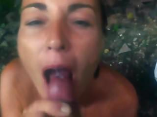 Hot milf sucking in publick and swallows BBC cum