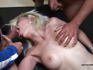 Kinky Blonde Gets Multiple Facials - P2