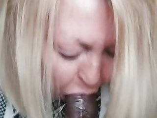 Gilf sucks black cock dry