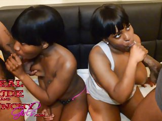 Two Young Black Sluts Liyah Chase and Shasha Rey Have Orgy