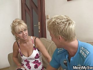 Cute blonde girl involved into not family 3some