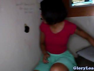 Ebony gloryhole babe tugging and sucking