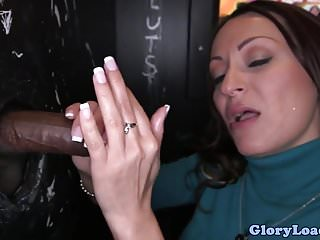 Gloryhole beauty wanks two cocks till facial