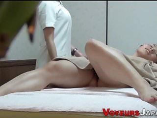 Asian les masseuse spied
