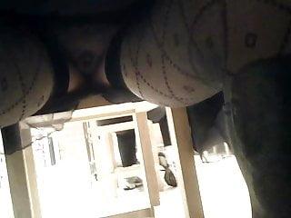Upskirt under table no panties