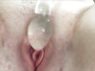 Playing with my glass dildo