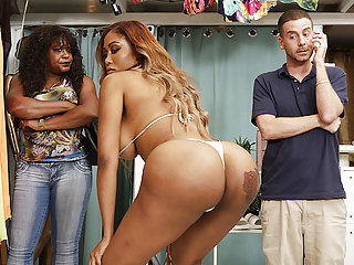 Booty black babe fucks in the bikini shop - Moriah Mills
