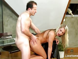 Blonde slut riding his pulsating hard cock.mp4
