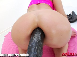 AnalAcrobats Blonde Massive Anal Dildo Play