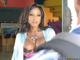 Stunning busty Ebony tutor Diamond Jackson fucked in her ass