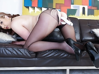 Sexy blonde in sheer black pantyhose strips teases and toys