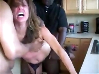Wife in Heels Getting Spit Roasted by BBC In The Kitchen