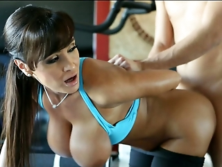 Mega busty mature lady is drilled hard in the gym by a horny guy