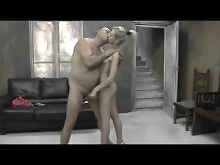Fat old man uses blonde girl