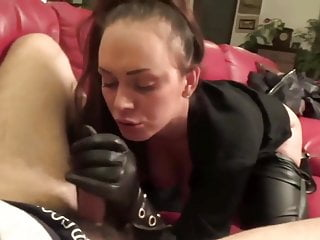 blowjob with leather gloves oral creampie