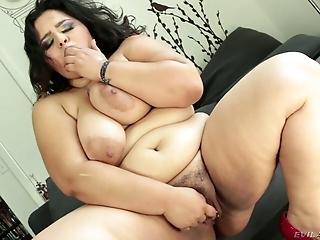 Horny fattie Karla Lane masturbates with tiny dildo