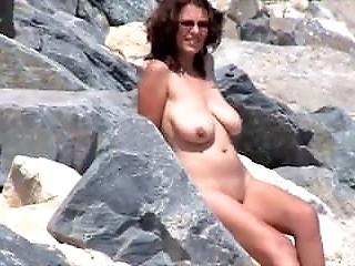 Nude Beach - Big Naturals - Poses for BF - Voyeur Films