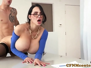 Cfnm milf assfingered while fucking employee