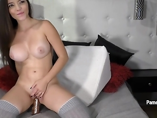 Amazing Pamela Jay masturbates with gold dildo after hot striptease