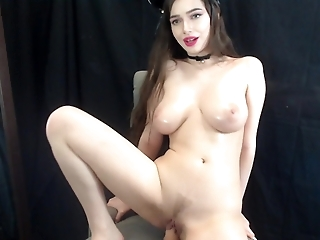 Cute Kitty with Big Tits Fucks and Rides Dildo on Cam - Jessica Starling