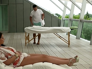 Mesmerizing giant breasted MILF Anissa Jolie turns massage into anal sex