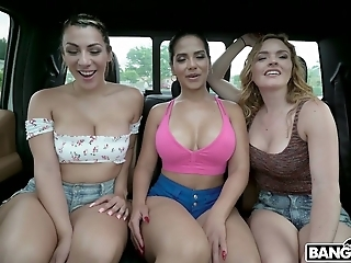 Horn-mad curvaceous Krissy Lynn invites two more chicks for steamy orgy
