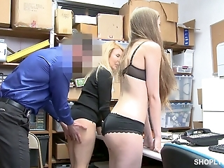 Guilty chick Samantha Hayes and kinky auburn MILF get fucked by cop