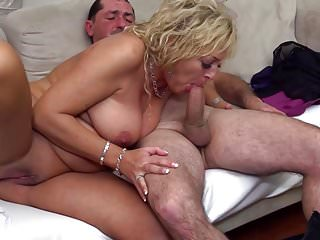 Mature mom and daddy on the couch