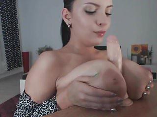 Hottie Sucking Her Titties & TittyFucking Her Dildo