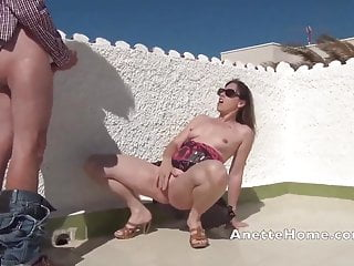 outdoor fucking on the rooftop for the voyeurs with real