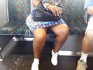 Sexy legs ebony granny on the train