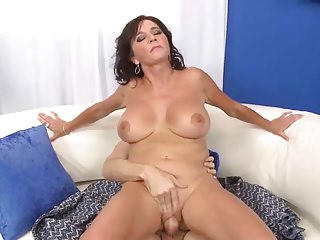 Eldery mom with big boobs & guy