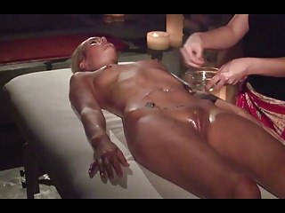 Cute blonde has multiple orgasms during massage