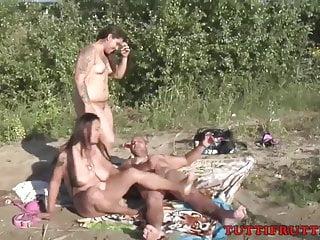 FKK sex nude beach orgy