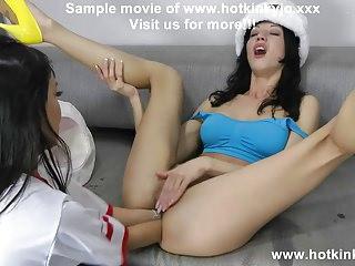 Hotkinkyjo & Sasha Star elbow deep anal fisting belly bulge!