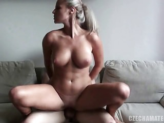 CZECH AMATEURS - AMAZING HORNY BLONDE WITH HUGE TITS IN CZEC