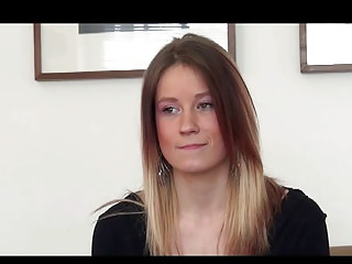 A pretty hungarian girl with tight fit body does a casting