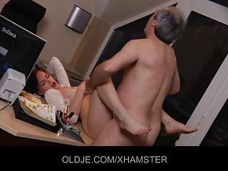 Sexy secretary striptease to fucks his old boss