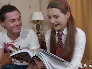 Little schoolgirl's anal fantasies come true