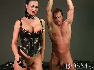 BDSM XXX Slave boy in metal stocks as he receives anal